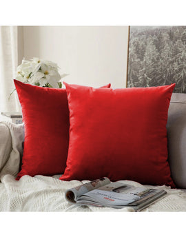 LUXURY VELVET CUSHIONS PACK OF 2-RED