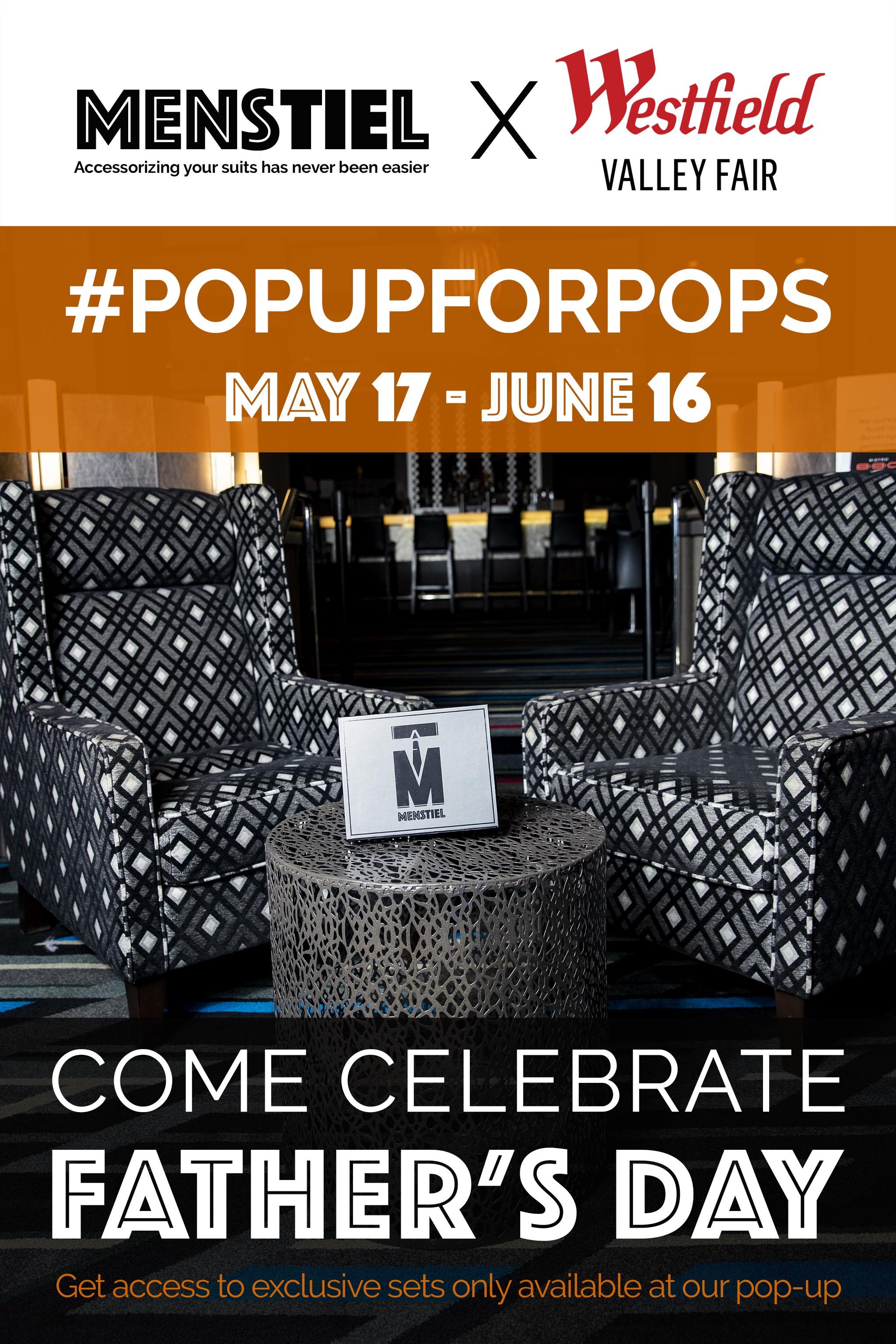 Menstiel Pop-Up at Westfield Valley Fair from May 17 - June 16. #PopUpForPops for Father's Day Celebration