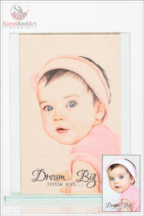Custom Baby Portrait from Photo into Glass Vase by Sand 7.8