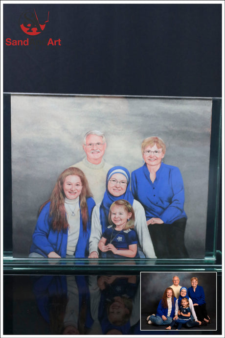 Personalize Your Family Picture to Sand Portrait into Glass Vase 13.7x15.7
