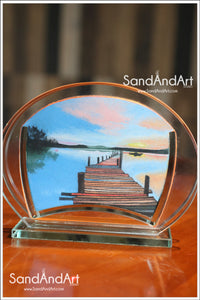 "Custom Landscape Picture to Sand Portrait into Glass Vase 5.1""x7.0""-FREE SHIPPING"