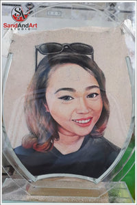 "Custom Sand Portrait from Photo into Glass Vase by Sand 7.0""x9.8"" -FREE SHIPPING"