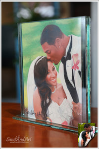 "Personalize Your Picture to Sand Portrait into Glass Vase 11.8x13.7"", Unique Photo gift - FREE SHIPPING"