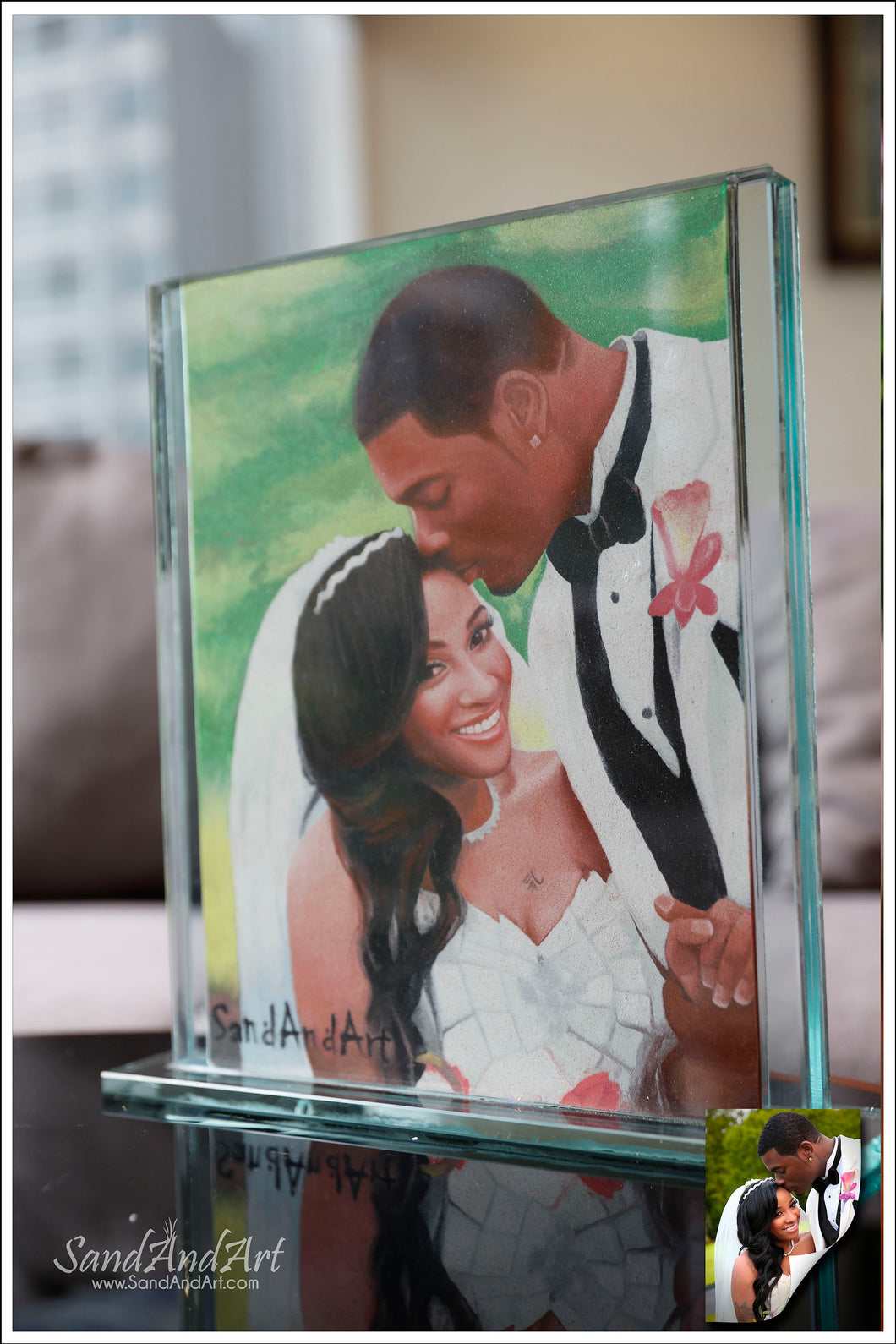 Personalize Your Picture to Sand Portrait into Glass Vase 11.8x13.7