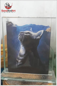 "Custom Pet Portrait from Photo Into Glass Vase by Sand 5.1""x7.0"" -FREE SHIPPING"