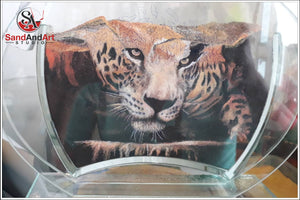 "Custom Pet Portrait from Photo Into Glass Vase by Sand 7.0""x9.8"" FREE SHIPPING"