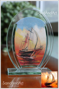 "Personalize Your Picture into Glass Vase by Sand 5.1""x7""  -FREE SHIPPING"