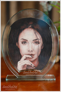 "Your Photo Into Glass Vase by Sand  9.8"" x 11.8""  -FREE SHIPPING"