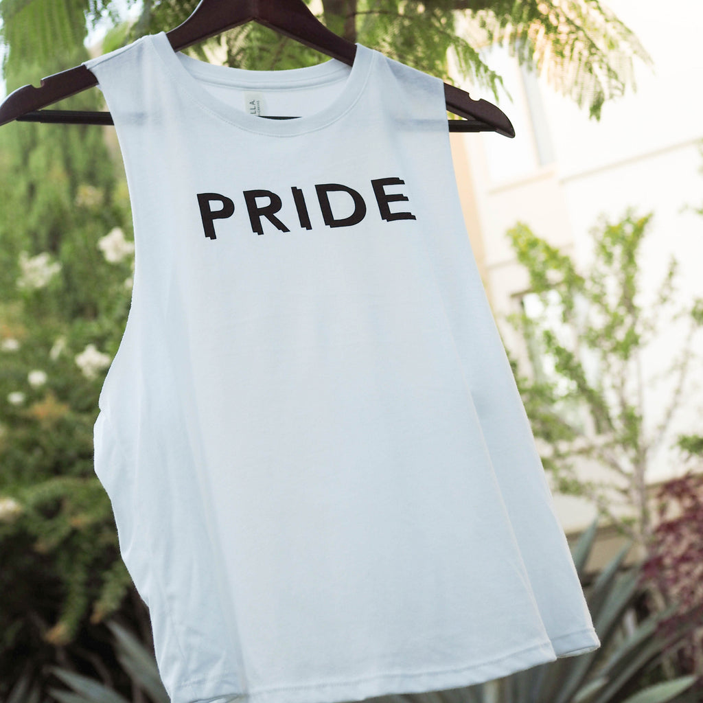 Pryde, spelled correctly... (Racerback Cropped Tank)