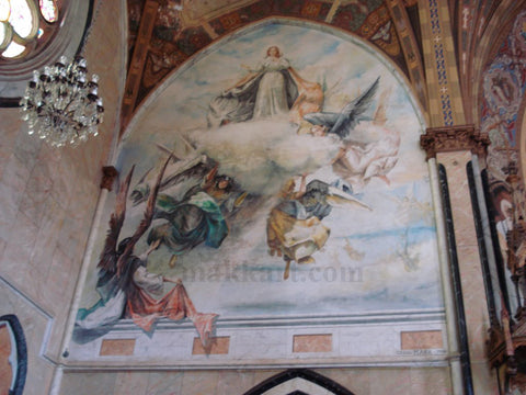 Americo Makk painting mural in the cathedral in Jau Brazil