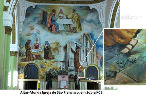 Mural painted by Americo Makk and Eva Makk known as Casal Makk in the church of Sao Francisco in Sobral Brazil