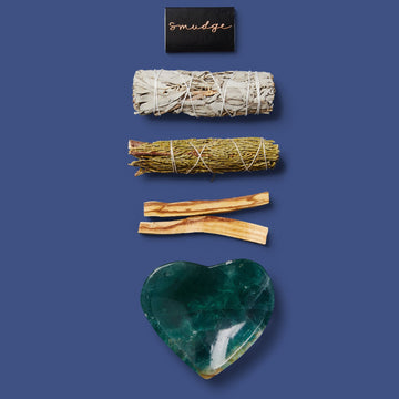 THE SMUDGING TRIO: HEART FLUORITE BOWL
