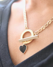Load image into Gallery viewer, Black Heart Necklace. Curb chain handcrafted nickel free chain. Handmade in Austin, Texas