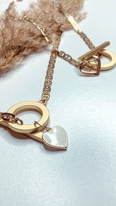 Gold Charm Heart Necklace. Curb chain handcrafted nickel free chain. Handmade in Austin, Texas