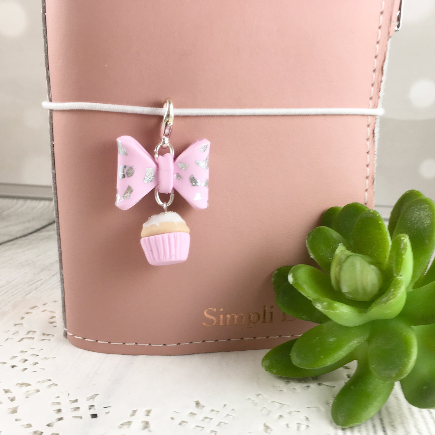 Bow and Cupcake Dangle Traveller Notebook Charm