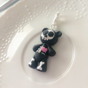 Teddy Bones the Skeleton Bear Charm
