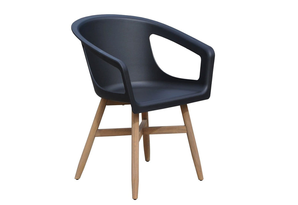 Harlow Outdoor Dining Chair with Arms in Black