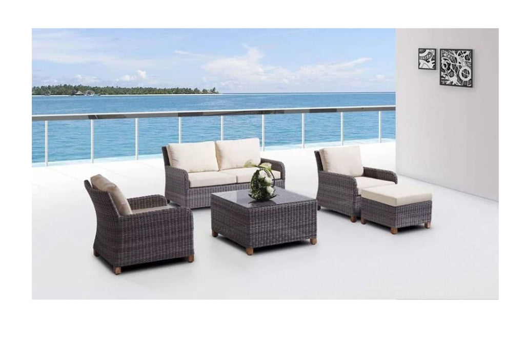 Blue Stone Lounge & Ottoman - 5Pc Patio Lounge Setting