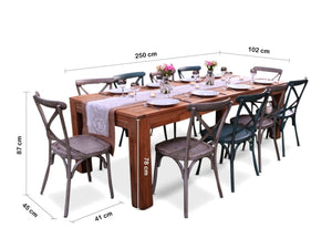 ENTERTAINER 10 Seat Teak Table with 10 CROSSBACK CHAIRS