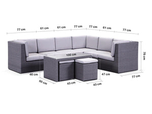 Aloha Corner Setting - Outdoor Modular Wicker Sofa With Ottoman Coffee Table