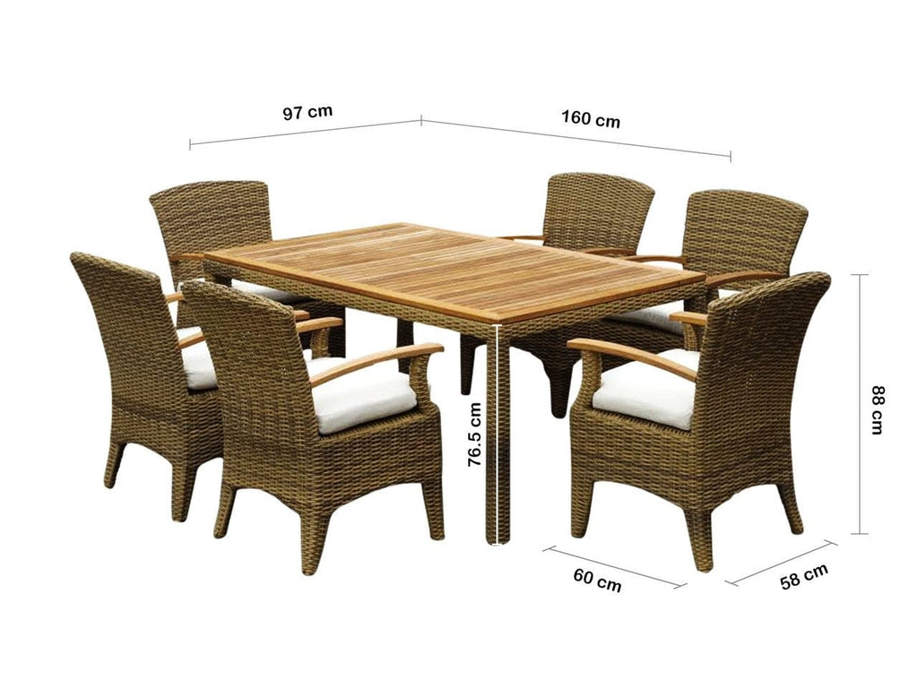 KAI 6 Outdoor Dining Table Setting in Half Round Wicker