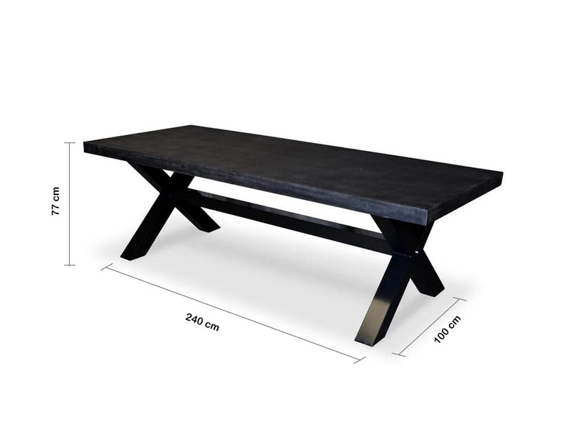 New York Industrial 2.4m Dark GREY OUTDOOR POLY-CEMENT DINING TABLE