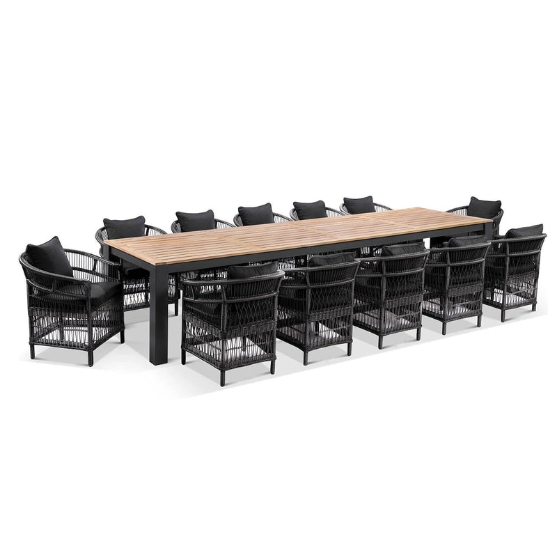 Balmoral 3.55m Outdoor Teak Top Aluminium Table with 12 Malawi Chairs