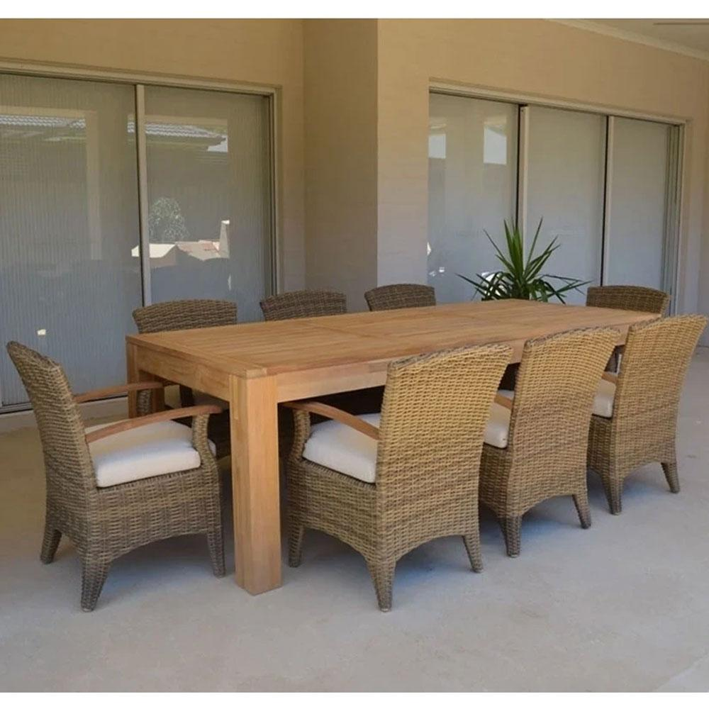 Entertainer 2.5m Teak Outdoor Dining Setting With 8 Kai Chairs