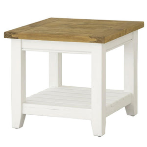 Leura Belle Indoor Side Table in Brushed White with Natural Timber Top