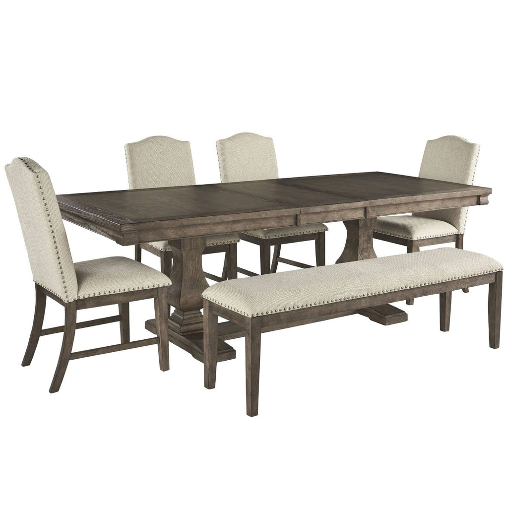 Scarlett Extension Indoor Timber Dining Setting with Chairs & Bench Seat