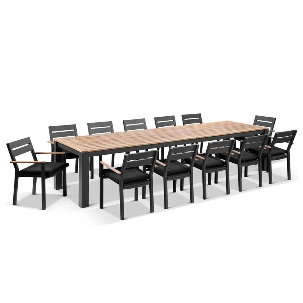 Balmoral 3.55m Outdoor Teak Top Aluminium Table with 12 Capri Chairs