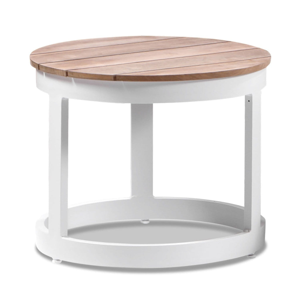 Balmoral Round Industrial Aluminium Teak Top Side Table