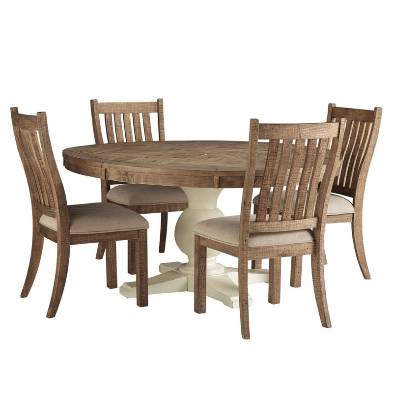 Oakland 5 Piece Round Indoor Timber Dining Table and Chairs Setting