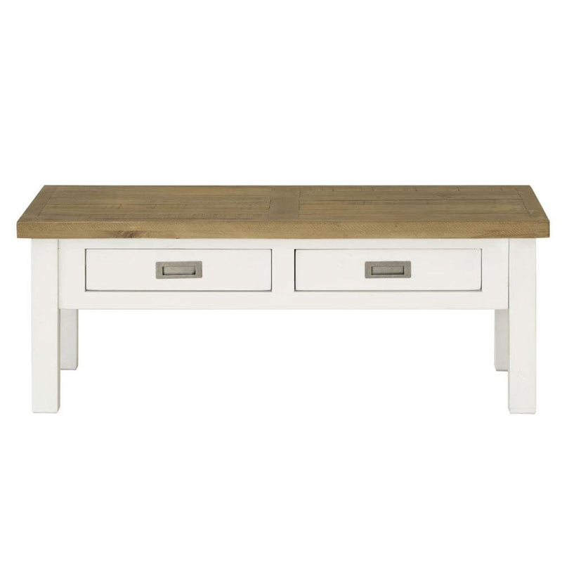 Leura Belle Coffee Table in Brushed White with Natural Timber Top