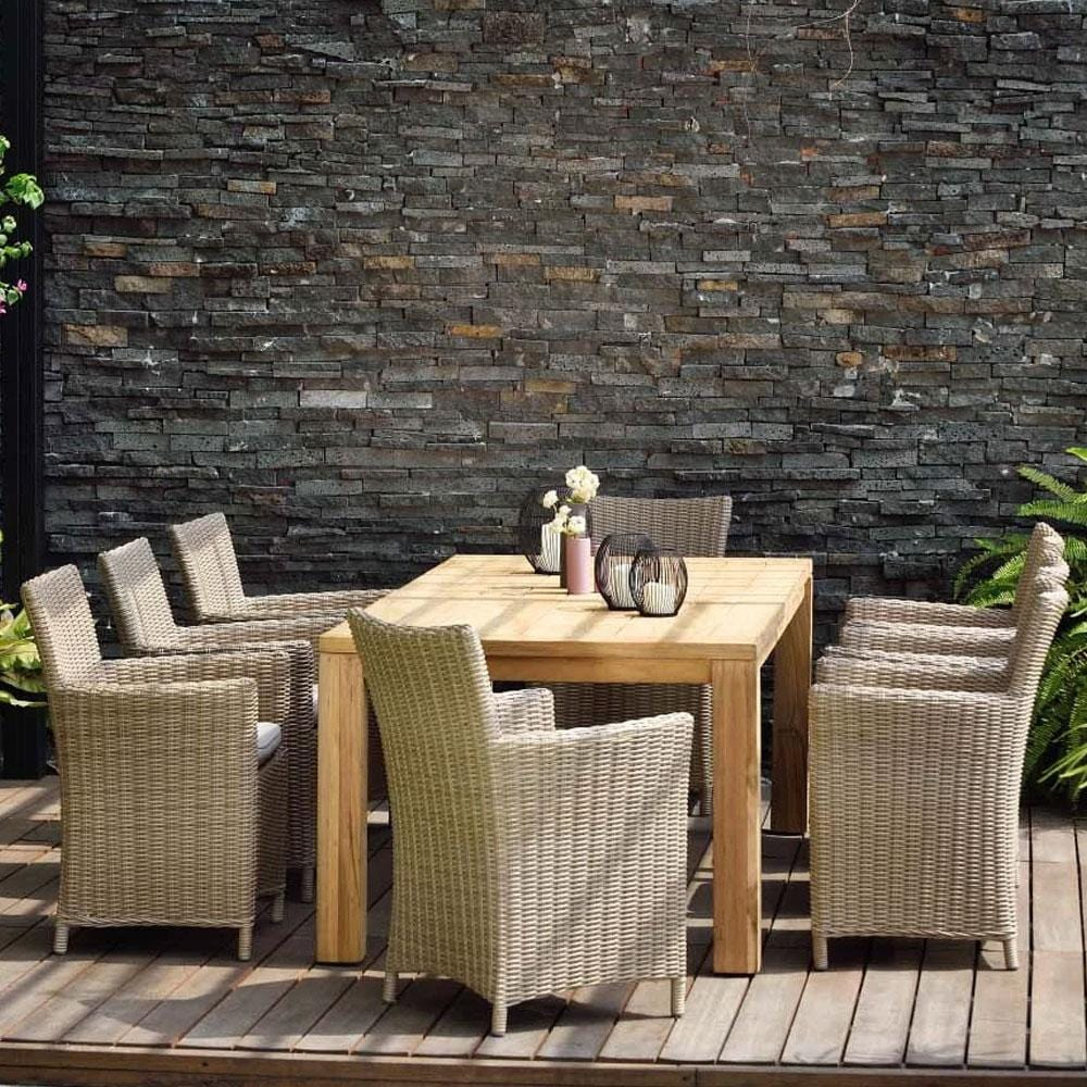 Cancun 2.2m Teak Timber Table and 8 wicker Chairs Dining Setting
