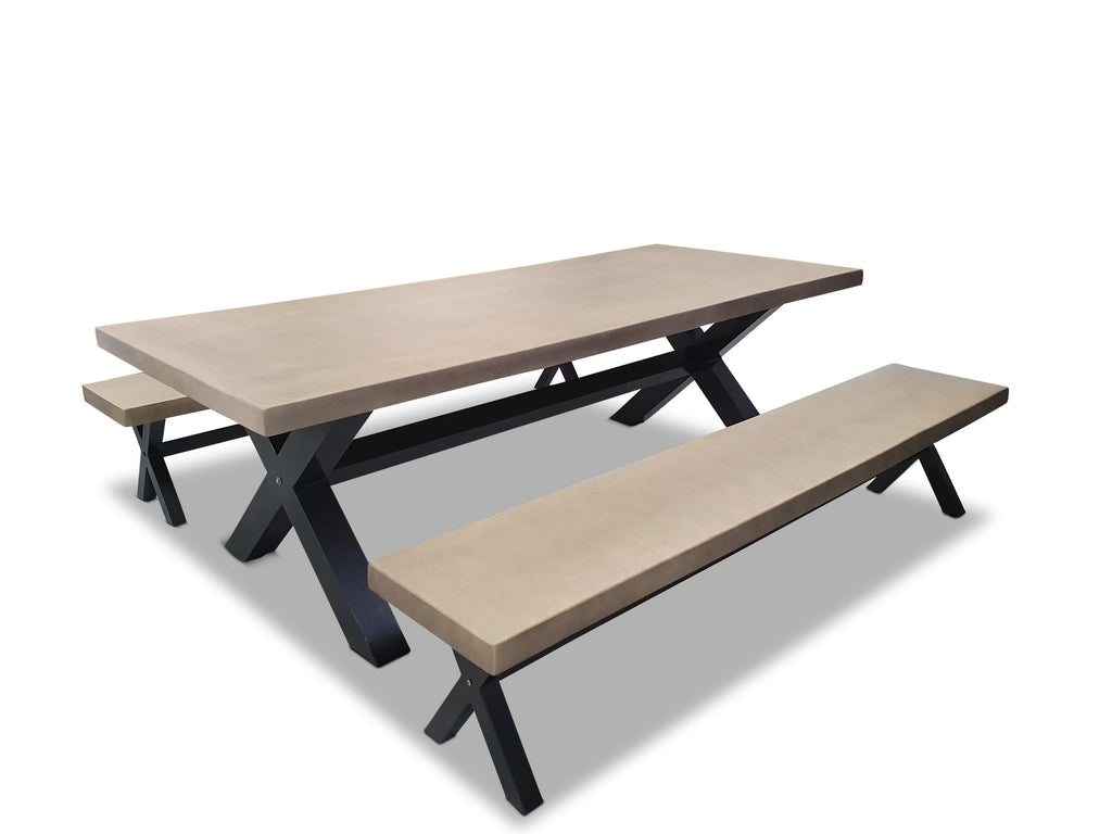 New York 2.4m Light Grey Poly-Cement Dining Table with Bench Seats