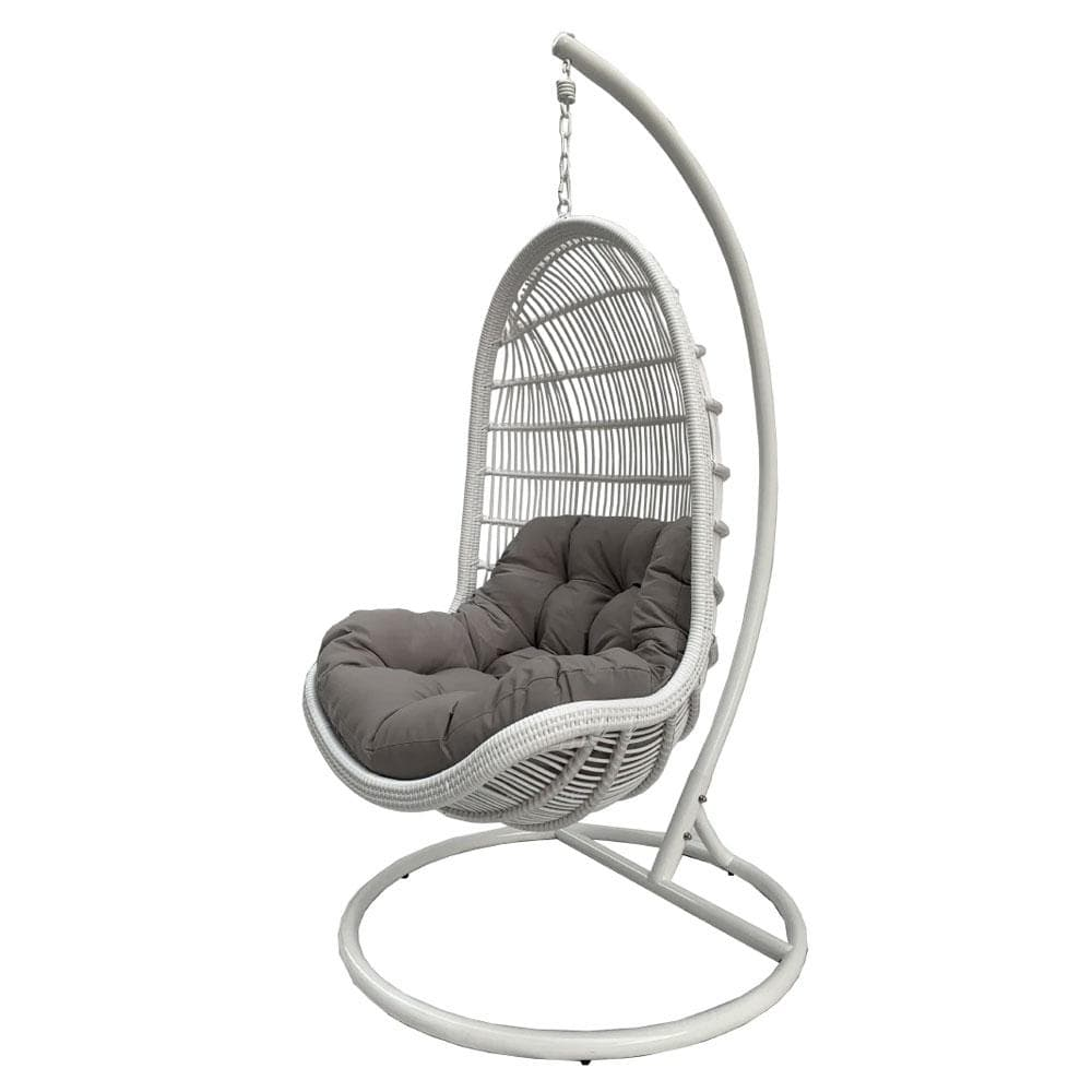 Trojan Outdoor Wicker Hanging Egg Chair With Stand In White