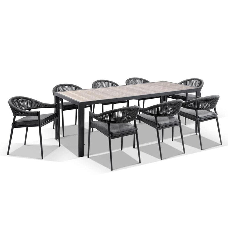 Southport Outdoor 2.17m Aluminium and Ceramic Table with 8 Finley Rope Chair