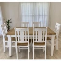 Leura Belle Rustic 6 Seater Rectangle Dining Table and Chairs Setting