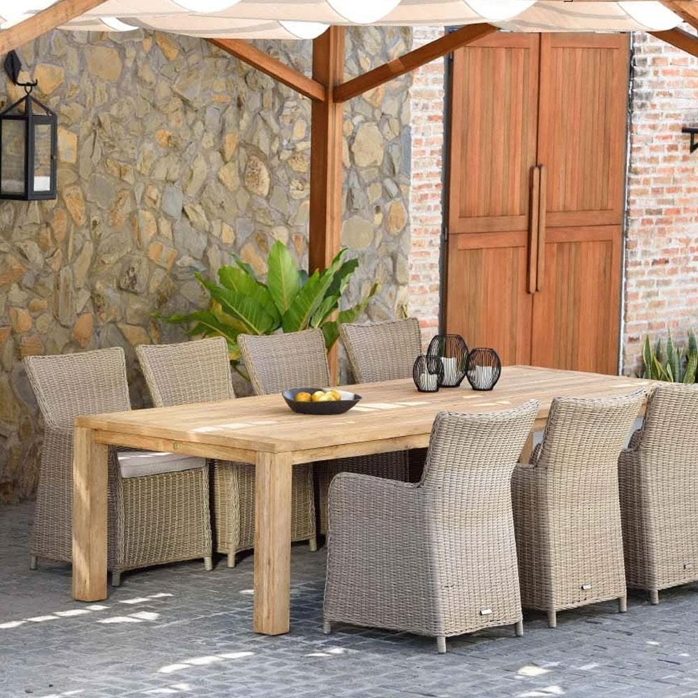 Cancun 3m Teak Timber Table and 10 Cora Wicker Chairs Dining Setting