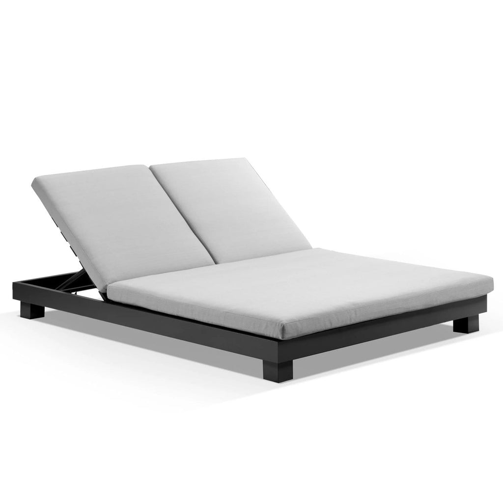 Santorini Aluminium Double Sun Lounge in Charcoal