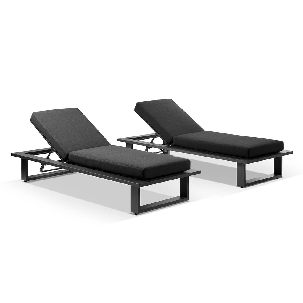 Arcadia Aluminium Sun Lounge Set in Charcoal