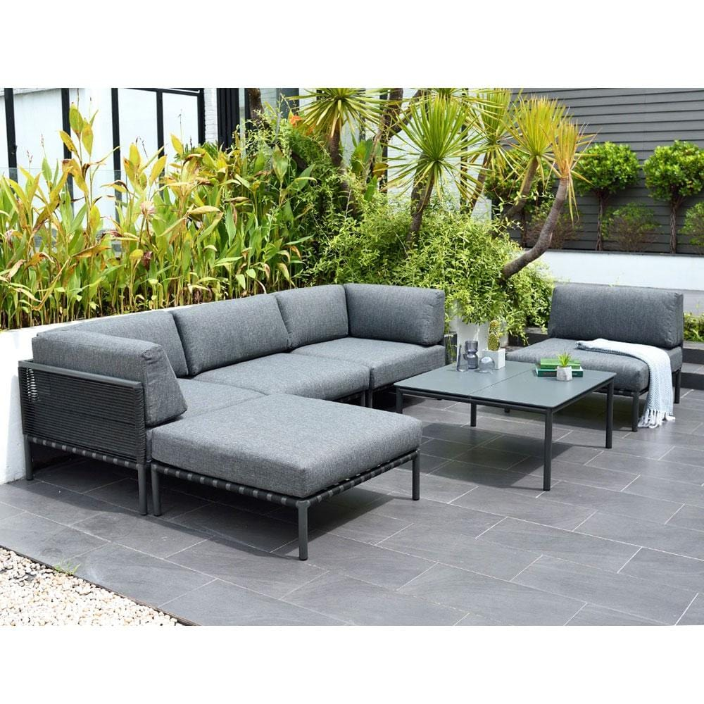 Horizon Outdoor Aluminium and Rope Modular Corner Chaise Lounge Setting
