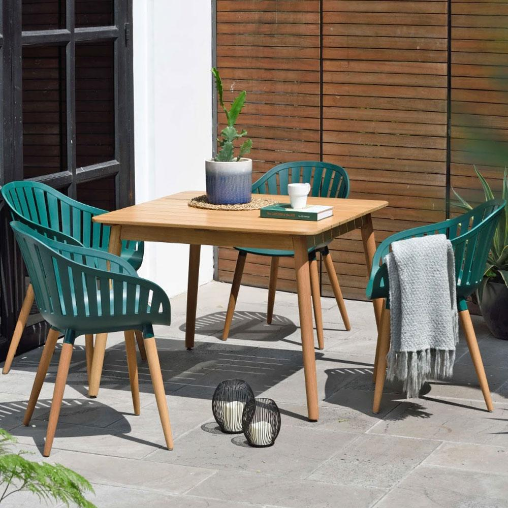 Marina Outdoor Recycled Plastic 4 Seater Square Timber Dining Setting