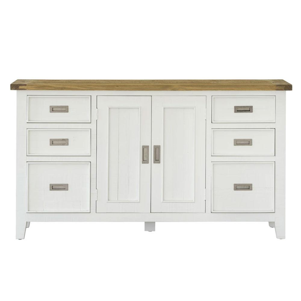 Leura Belle Buffet Sideboard in Brushed White with Natural Timber Top