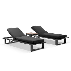 Arcadia Aluminium Sun Lounge Set in Charcoal with Balmoral Teak Slide Under Side Table