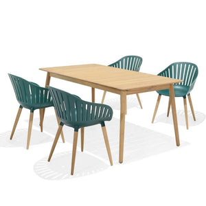 Marina Outdoor Recycled Plastic 6 Seater Rectangle Timber Dining Setting