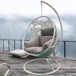 Havana Hanging Egg Chair in White with Stand
