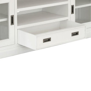 Leura Belle Entertainment TV Unit in Brushed White with Natural Timber Top