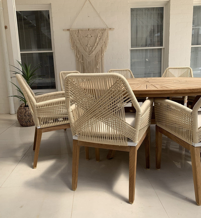 Solomon 1.8m Round Outdoor Teak Timber Dining Table with Darcey Chairs with Lazy Susan